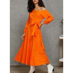 Solid 1/2 Sleeves/Puff Sleeves A-line Skater Party Midi Dresses