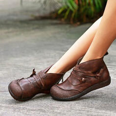 Women's Leatherette Flat Heel Round Toe With Zipper Solid Color shoes