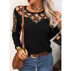 Solid Round Neck Long Sleeves Casual Blouses