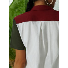Color Block Lapel Short Sleeves Button Up Casual Shirt Blouses