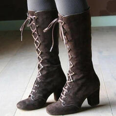 Women's Leatherette Chunky Heel Mid-Calf Boots Round Toe With Lace-up Solid Color shoes