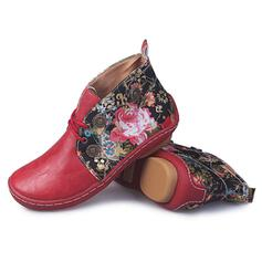 Women's Leatherette Flat Heel Ankle Boots Round Toe With Solid Color Embroidery shoes