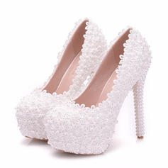 Women's Leatherette Spool Heel Closed Toe Platform With Applique