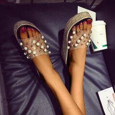 Women's PU Wedge Heel Wedges Slippers With Pearl shoes