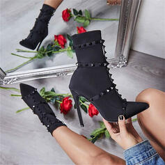 Women's Cloth Stiletto Heel Pumps Pointed Toe With Rivet shoes