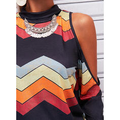 Striped Cold Shoulder Long Sleeves Casual Blouses