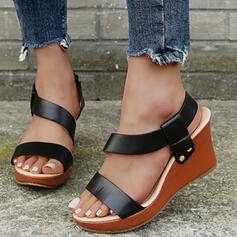 Women's PU Wedge Heel Sandals Platform Wedges Peep Toe Slingbacks With Hollow-out Solid Color shoes