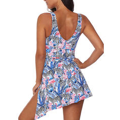 Tropical Print Strap Sexy Plus Size Swimdresses Swimsuits