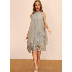 Embroidery/Solid Sleeveless Shift Knee Length Casual/Party/Elegant Dresses