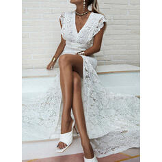 Lace/Solid Cap Sleeve Sheath Party Maxi Dresses