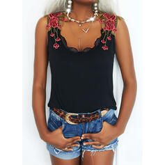 Floral Lace V-Neck Sleeveless Tank Tops