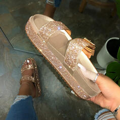 Women's Leatherette Flat Heel Flats Slippers With Rhinestone Sequin Buckle shoes