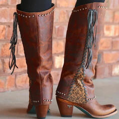 Women's Leatherette Chunky Heel Knee High Boots Round Toe With Rivet Tassel Splice Color shoes