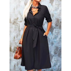 Solid Long Sleeves A-line Shirt Little Black/Casual Midi Dresses