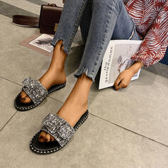 Women's PU Flat Heel Sandals Peep Toe Slippers With Rhinestone Bowknot Sequin shoes