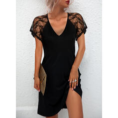 Solid Lace Short Sleeves Shift Knee Length Little Black/Casual Dresses