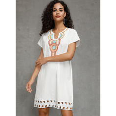 Print Short Sleeves Shift Knee Length Casual/Boho/Vacation T-shirt/Tunic Dresses