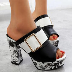Women's PU Chunky Heel Pumps With Buckle Flower Print shoes