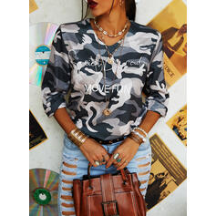 Camouflage Figure Print V-Neck Long Sleeves T-shirts