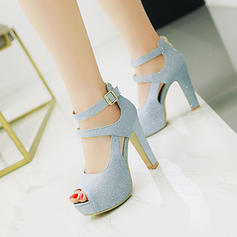 Women's Sparkling Glitter Chunky Heel Sandals Pumps Platform Peep Toe With Buckle shoes