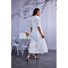 Solid 1/2 Sleeves Shift Casual Maxi Dresses