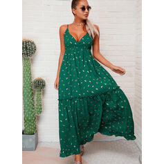 PolkaDot Sleeveless A-line Slip Casual/Vacation Maxi Dresses
