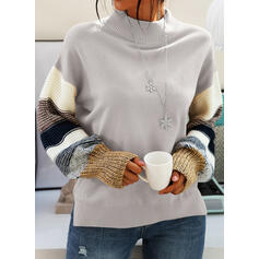 Color Block Round Neck Long Sleeves Casual Knit Blouses