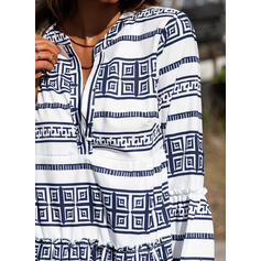 Print/Striped 3/4 Sleeves/Flare Sleeves Shift Above Knee Casual/Boho/Vacation Tunic Dresses