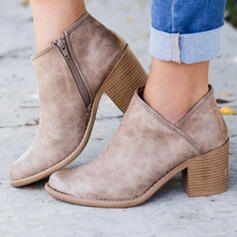 Women's PU Chunky Heel Boots Ankle Boots Round Toe With Zipper Solid Color shoes