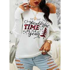 Print One-Shoulder Long Sleeves Casual Knit Blouses