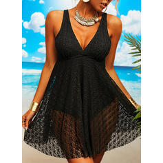 Solid Strap V-Neck Sexy Plus Size Vacation Swimdresses Swimsuits