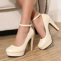 Women's PU Espadrille Heel Pumps High Top Round Toe With Buckle Lace-up shoes