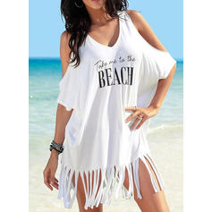 Solid Color V-Neck Cute Cover-ups Swimsuits