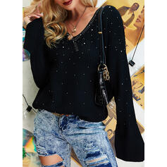 Ribbed Sequins V-Neck Casual Sweaters