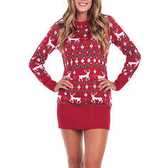 Women's Polyester Print Reindeer Ugly Christmas Sweater