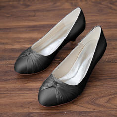 Women's Satin Kitten Heel Closed Toe Pumps With Bowknot