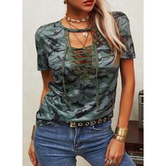 Print Lace-up V-Neck Short Sleeves Casual Blouses
