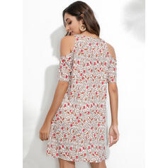 Print/Floral Short Sleeves/Cold Shoulder Sleeve Sheath Above Knee Casual/Vacation Dresses