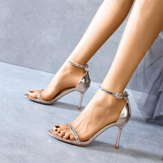 Women's Patent Leather Stiletto Heel Pumps Peep Toe With Buckle Hollow-out shoes
