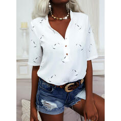 Print Heart V-Neck 1/2 Sleeves Button Up Casual Blouses