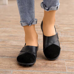 Women's PU Flat Heel Flats Low Top Loafers With Solid Color shoes