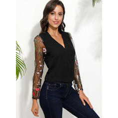 Floral Patchwork Lace V-Neck Long Sleeves Casual Blouses