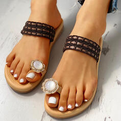 Women's PU Flat Heel Sandals Slippers Toe Ring With Rhinestone shoes