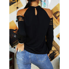 Lace Sequins Cold Shoulder Long Sleeves Casual Blouses