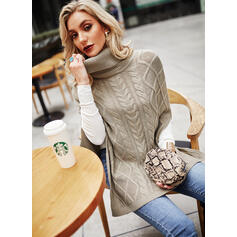 Solid Cable-knit Turtleneck Casual Long Sweaters