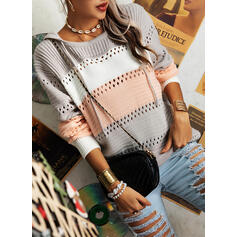 Color Block Hooded Casual Sweaters