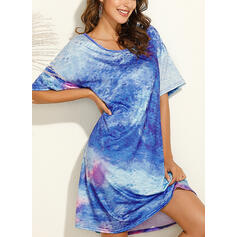 Tie Dye 1/2 Sleeves Shift Knee Length Casual Tunic Dresses
