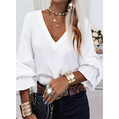 Solid Lace Backless V-Neck Long Sleeves Casual Blouses
