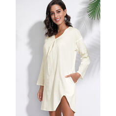 Solid 3/4 Sleeves/Long Sleeves Shift Above Knee Little Black/Casual Dresses