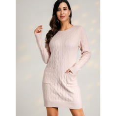 Solid Long Sleeves Sheath Above Knee Casual Sweater Dresses